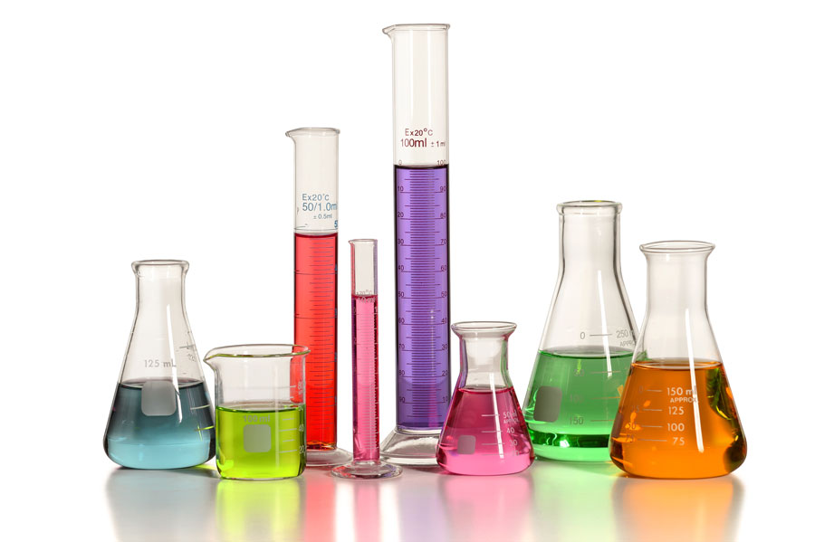 Image of beakers with liquid in them